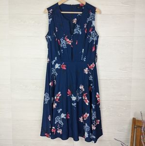 City Chic Blue Floral Sleeveless Midi Dress